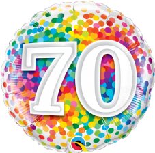 70th Birthday Confetti Design Foil Balloon